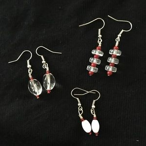 Set of 3 Red & Clear Earrings